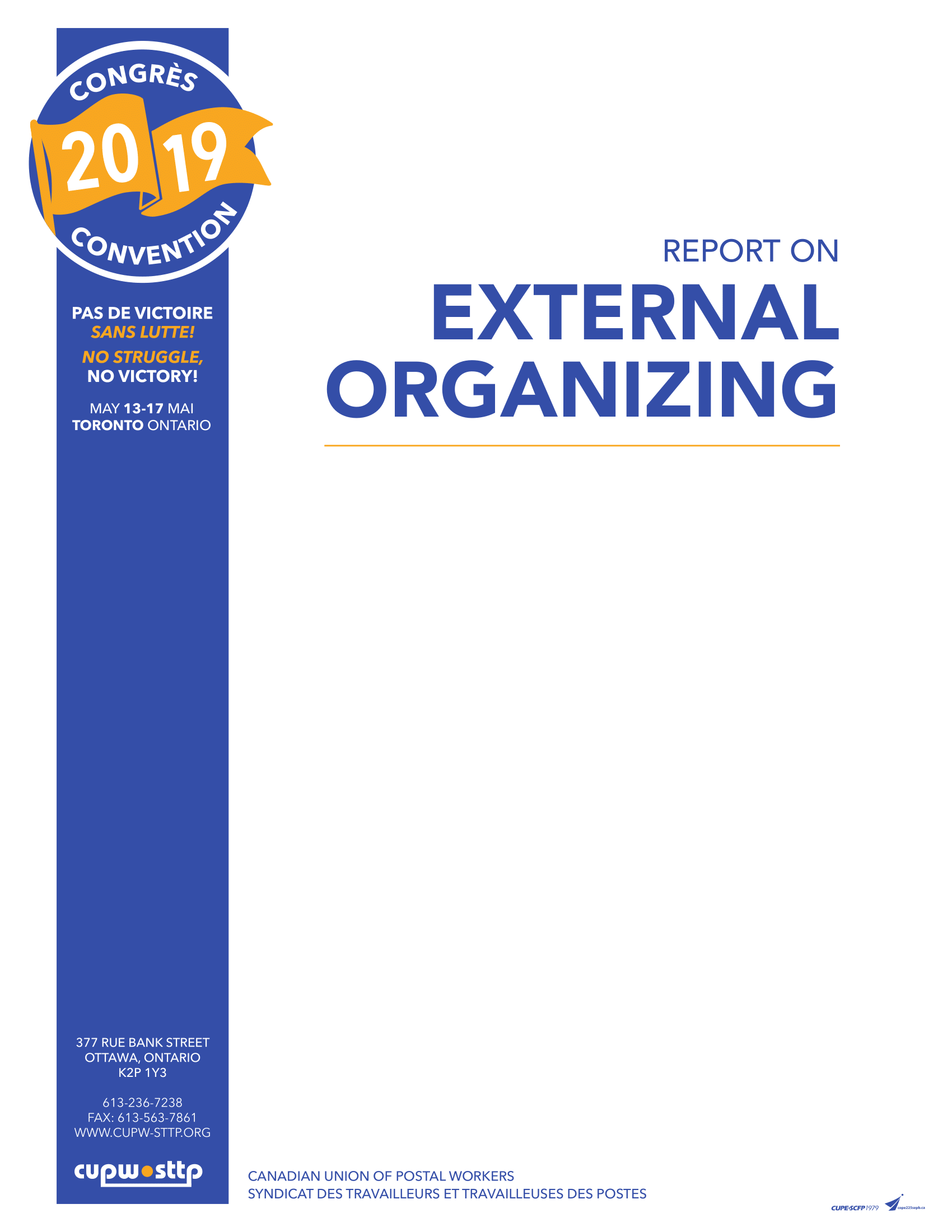 Report on External Organizing (2019)