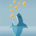 Illustration of a shark that is about to devour coins with dollar symbols on them.