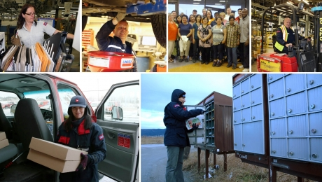 Collage of CUPW members including letter carrier, rural and suburban mail carrier, processing plant worker, technical services and trades, and private sector workers.