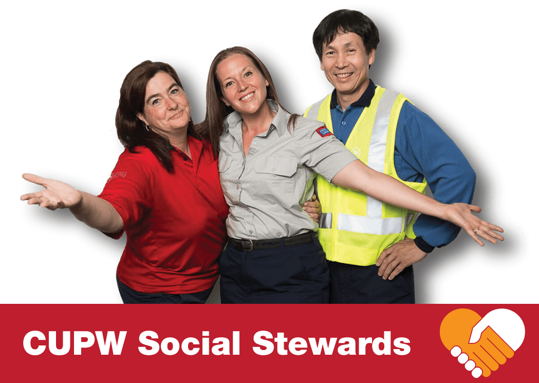 Group of three CUPW Social Stewards with arms outstretched in a welcoming manner